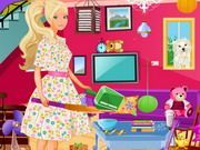 Play Barbie Living Room Cleanup Game